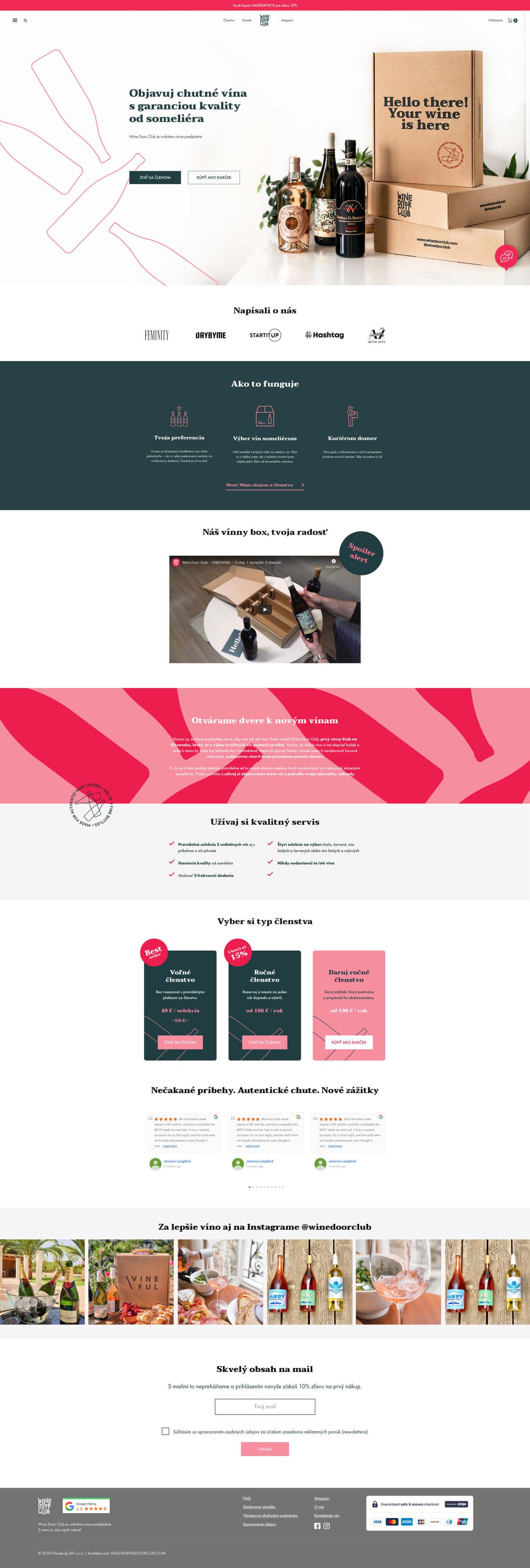 Wine Door Club webdizajn